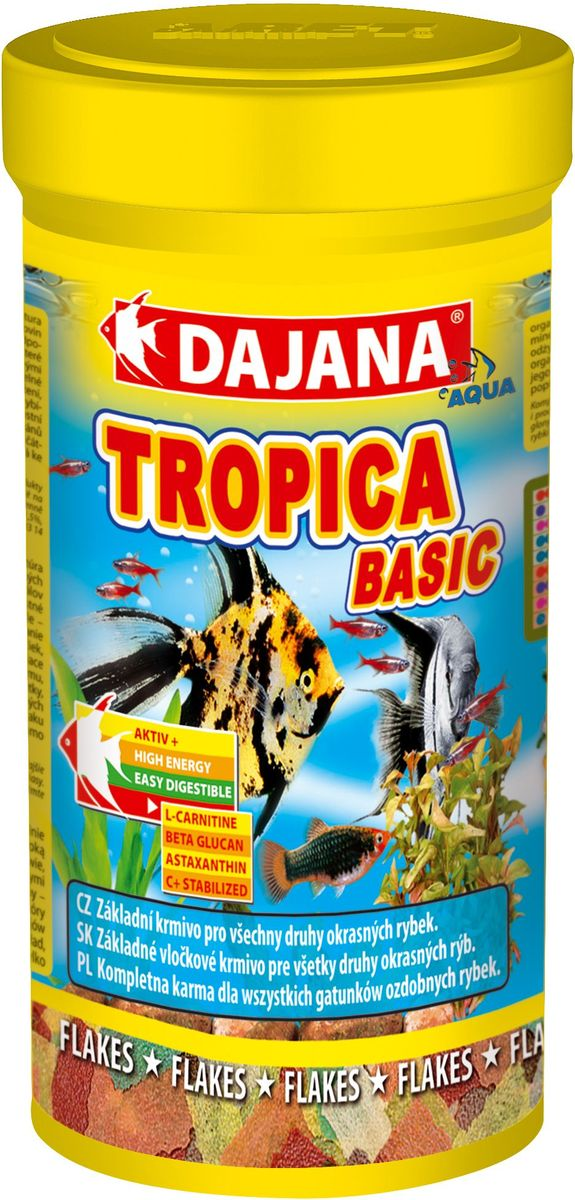 Корм для рыб Dajana Tropica Flakes, 100 млDP308SКомплексный, высококачественный корм для рыбок Dajana Tropica состоит из 7 видов хлопьев на каждый день.Идеален для всех видов декоративных аквариумных рыбок.Новая формула корма Тропика содержит сбалансированное количество специально подобранного природного сырья, содержащего питательные вещества, натуральные витамины и минералы, для здоровья, яркого окраса и активного роста рыбок. Благодаря специальной технологии приготовления, корм Dajana Tropica не мутит воду в аквариуме.Состав: рыба и рыбные субпродукты, зерновые, растительные протеиновые концентраты, сухие дрожжи, ракообразные, водоросли спирулина, другие морские водоросли и масла богатые ОМЕГА-3 жирными кислотами.