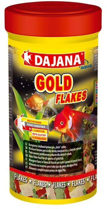 Корм для рыб Dajana Gold Flakes, 100 млDP208BКомплексный корм Dajana Gold Flakes в виде хлопьев для всех видов золотых рыбок. Оригинальный рецепт Dajana Gold обеспечивает оптимальное соотношение питательных веществ, минералов и витаминов, L-карнитина и Алое вера. В своемсоставе содержит витамины А, Е, С, D3. Корм повышает метаболизм липидов, и являетсяотличным источником энергии. Положительно влияет на здоровый рост и развитие рыбок. Оказывает благоприятное воздействие на пищеварительную, иммунную и репродуктивную систему золотых рыбок.Благодаря специальной рецептуре изготовления, корм для рыбок Dajana Gold не мутит воду в аквариуме после кормления.Состав: растительные протеиновые концентраты, планктон, водоросли, рыба и рыбные субпродукты, зерновые, сухие дрожжи, спирулина, масла и жиры, лецитин, антиоксиданты.