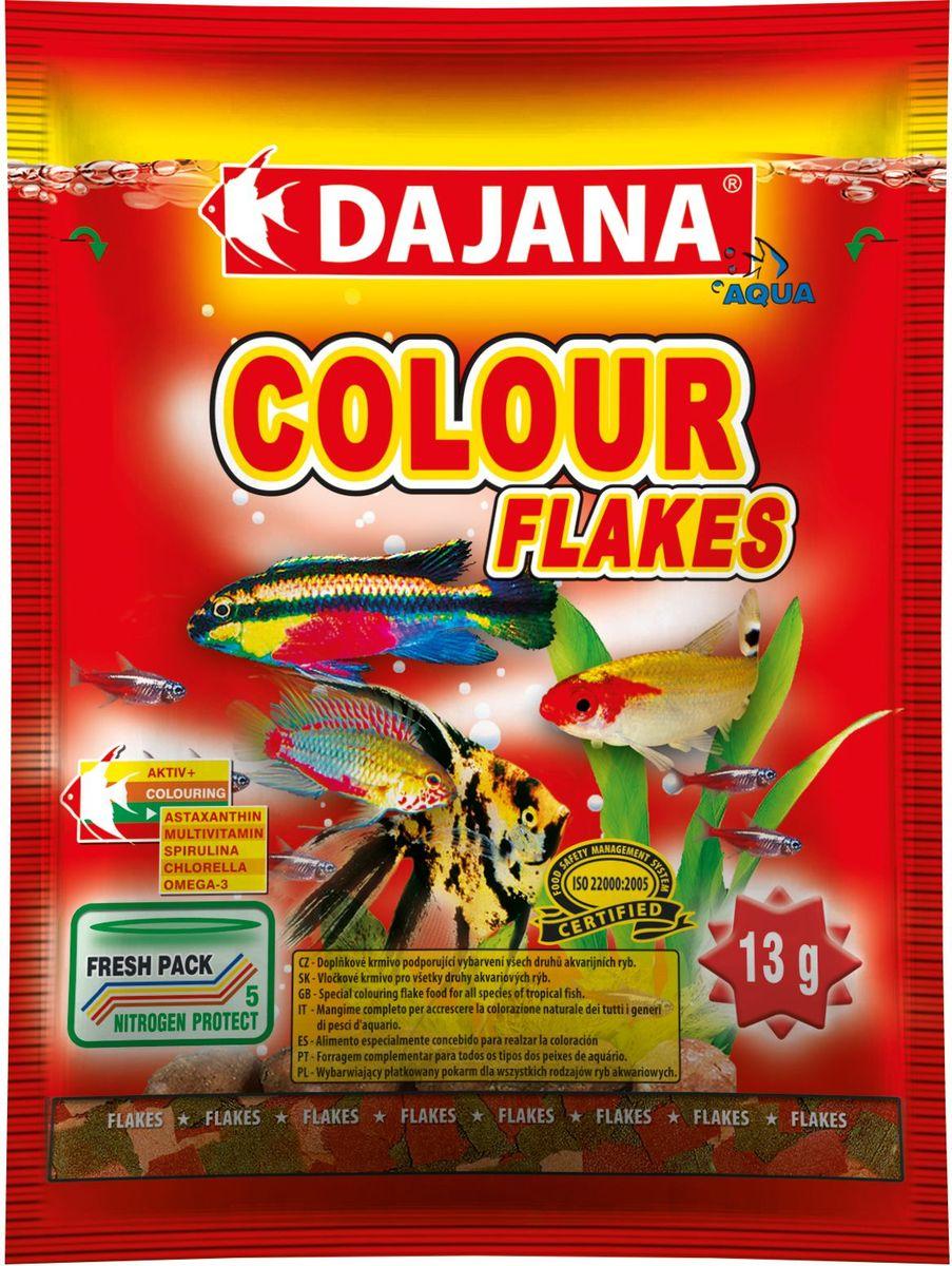 Корм для рыб Dajana Colour Flakes, 80 мл0120710Специальный хлопьеобразный корм для всех видов рыб на каждый день. Корм содержит натуральные вещества, способствующие красивой и естественной окраске рыб.