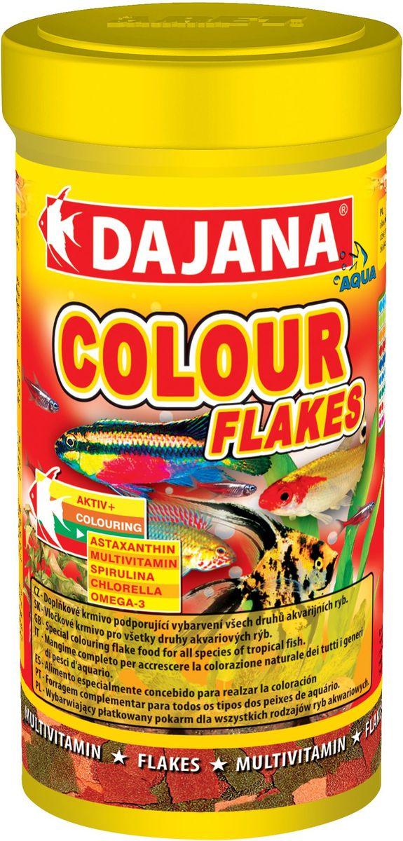 Корм для рыб Dajana Colour Flakes, 100 мл90109Полноценный корм Dajana Gold Colour Flakes в виде хлопьев для декоративных золотых аквариумных рыбок. Содержит специальные добавки: водоросли Spirulina, Chlorella,антиоксидант Astaxanthin, усиливающие природный окрас ваших рыбок, повышают сопротивляемость к болезням. Благодаря специальной технологии изготовления, корм для рыбок Dajana Gold Colour Flakes не мутит воду в аквариуме.Состав: Рыба и рыбные субпродукты, зерновые, растительные протеиновые концентраты, сухие дрожжи, водоросли спирулина и хлорелла, моллюски, овощи, масла и жиры, лецитин, антиоксиданты.