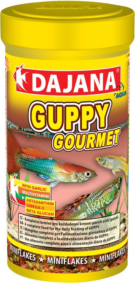 Корм для рыб Dajana Guppy Gourmet Flakes, 100 мл0120710Комплексный хлопьеобразный корм для рыбок, предназначенный для ежедневного кормления гуппи. Корм содержит высокую долю чеснока, белков, витаминов и минералов, способствуя благополучному росту и здоровью рыб. Корм легко принимается и усваивается.Состав:рыба и рыбные субпродукты, зерновые, растительные протеиновые концентраты, спирулина, сухие дрожжи, чеснок, моллюски, водоросли, масла и жиры, антиоксиданты.