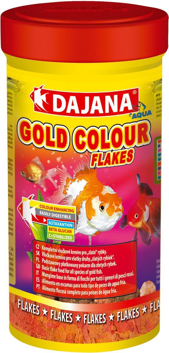 Корм для рыб Dajana Gold Colour Flakes, 100 мл0120710Полноценный корм Dajana Gold Colour Flakes в виде хлопьев для декоративных золотых аквариумных рыбок. Содержит специальные добавки: водоросли Spirulina, Chlorella,антиоксидант Astaxanthin, усиливающие природный окрас ваших рыбок, повышают сопротивляемость к болезням. Благодаря специальной технологии изготовления, корм для рыбок Dajana Gold Colour Flakes не мутит воду в аквариуме.Состав: Рыба и рыбные субпродукты, зерновые, растительные протеиновые концентраты, сухие дрожжи, водоросли спирулина и хлорелла, моллюски, овощи, масла и жиры, лецитин, антиоксиданты.
