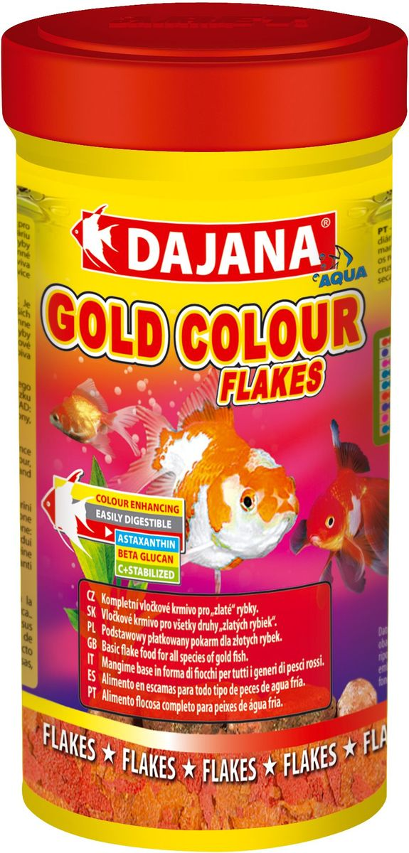 Корм для рыб Dajana Gold Colour Flakes, 250 мл95205Полноценный корм Dajana Gold Colour Flakes в виде хлопьев для декоративных золотых аквариумных рыбок. Содержит специальные добавки: водоросли Spirulina, Chlorella,антиоксидант Astaxanthin, усиливающие природный окрас ваших рыбок, повышают сопротивляемость к болезням. Благодаря специальной технологии изготовления, корм для рыбок Dajana Gold Colour Flakes не мутит воду в аквариуме.Состав: Рыба и рыбные субпродукты, зерновые, растительные протеиновые концентраты, сухие дрожжи, водоросли спирулина и хлорелла, моллюски, овощи, масла и жиры, лецитин, антиоксиданты.
