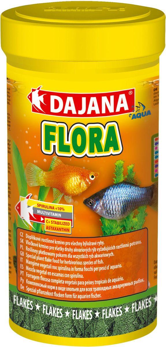 Корм для рыб Dajana Flora Flakes, 100 мл0120710Специальный хлопьеобразный корм для травоядных аквариумных рыб, содержит водоросль Spirulina - природный антиоксидант, благодаря которому, повышается сопротивляемость организма к различным заболеваниям.