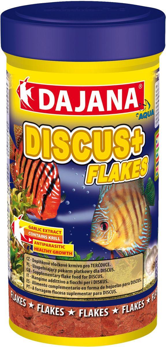 Корм для рыб Dajana Discus Plus Flakes, 250 мл0120710Дополнительный хлопьеобразный корм для дискусов. Хлопья из высококачественного и легкоусвояемого сырья. Корм обогащен планктоном и экстактом чеснока. Обладает противопаразитными свойствами.