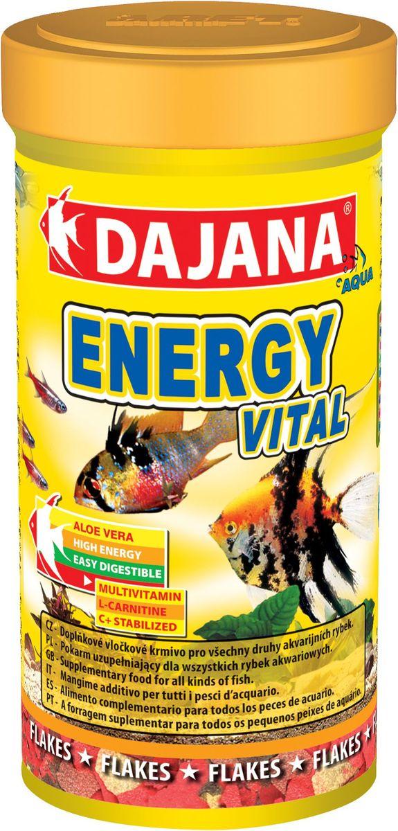 Корм для рыб Dajana Energy Vital Flakes, 100 мл0120710Дополнительный корм для всех видов аквариумных рыб с экстрактом алое-вера и L-карнитина оказывает положительное воздействие на пищеварительную систему.Состав: овощной протеиновый концентрат, ракообразные, водоросли, рыба и рыбные субпродукты, зерновые, чеснок, сухие дрожжи, спирулина, жиры, лецитин, антиоксиданты.