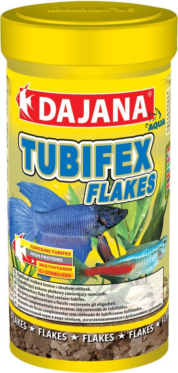 Корм для рыб Dajana Tubifex Flakes, 250 мл0120710Специальный хлопьеобразный корм для всех видов аквариумных рыб, водяных пресмыкающихся и террариумных животных, содержащий в основном трубочника - Tubifex.