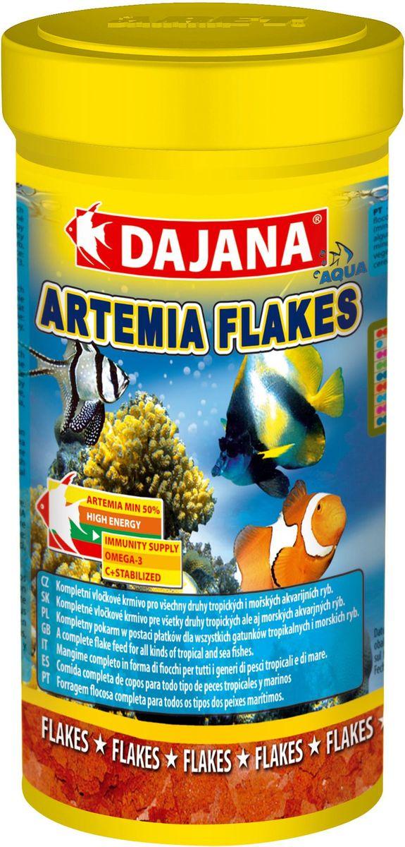 Корм для рыб Dajana Artemia Flakes, 100 мл12171996Высококачественный комплексныйкорм Dajana Artemia Flakes в виде хлопьев из артемии для всех видов тропических и морских рыбок. Идеально подходит для всех видов морских рыб.Хлопья содержат более 50% артемии в своем составе, а также морских ракообразных, моллюсков и морские водоросли.Использование корма Dajana Artemia Flakes повышает плодовитость целого ряда рыб. Содержит все необходимые морским рыбкам витамины, минералы и микроэлементы, которые превосходно дополняют друг друга, образуя богатую и разнообразную диету для морских рыбок.Корм Dajana Artemia Flakes это настоящий деликатес для ваших рыбок и производится только из высококачественных ингредиентов. Благодаря специальной рецептуре изготовления, корм для рыбок Dajana Artemia Flakes не мутит воду в аквариуме после кормления.Состав: Рыбная мука, зерновые, овощной протеиновый концентрат, сухие дрожжи, моллюски, морские водоросли, масла и жиры, лецитин, антиоксиданты.