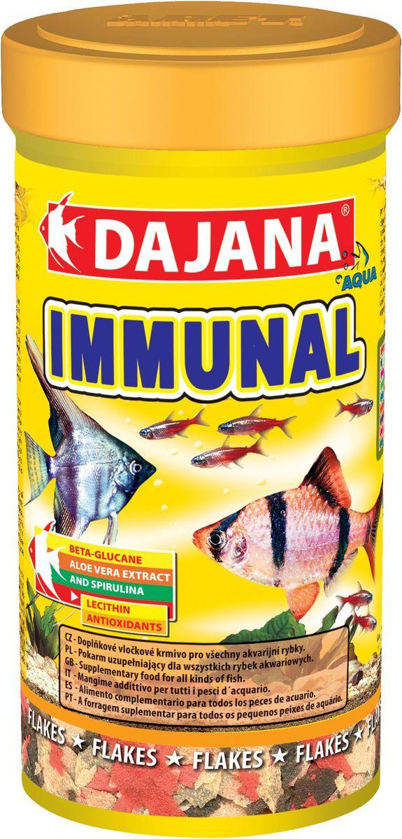 Корм для рыб Dajana Immunal Flakes, 100 мл0120710Дополнительный хлопьеобразный корм для всех видов аквариумных рыб. Хлопья содержит бета-глюкан и экстракт алое-вера, способствующие укреплению иммунной системы организма.