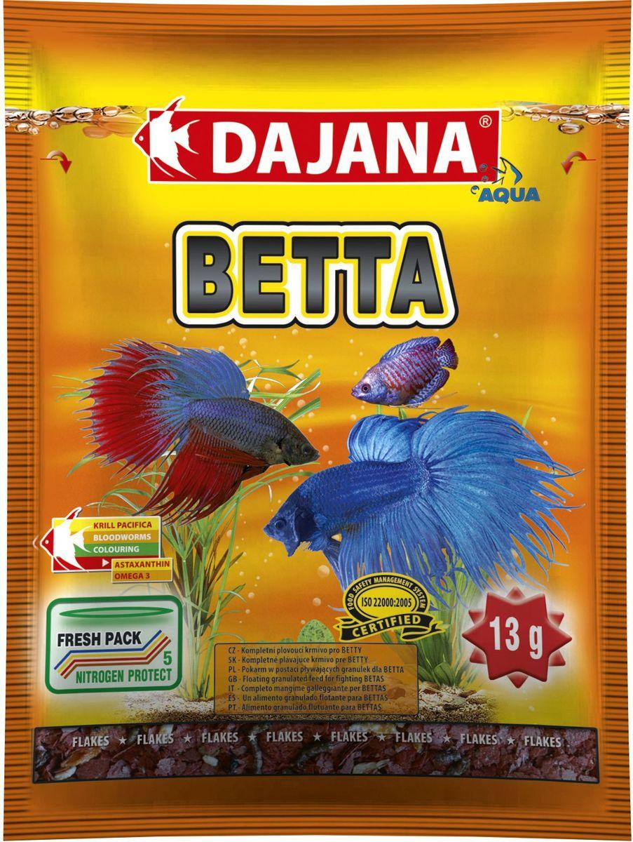 Корм для рыб Dajana Betta, 80 мл0120710Высококачественный, комплексный корм для рыбок Dajana Betta.Корм для рыбок в виде плавающих гранул, предназначен для петушков и других видов лабиринтовых рыб (гурами, макроподов и т.д.).Состоит из лиофилизированного (обезвоженного) криля и мелких хлопьев, с добавлением высококачественных протеинов, витаминов и минералов, жирных кислот Омега-3. Благодаря специальной рецептуре изготовления, корм для рыбок Dajana Betta не мутит воду в аквариуме после кормления.Состав: рыбная мука, зерновые, криль, моллюски, сухие дрожжи, рыбий жир, морские водоросли, сушеный чеснок.