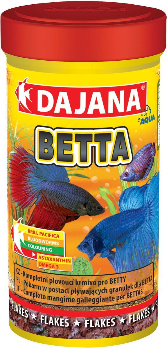 Корм для рыб Dajana Betta, 100 мл0120710Высококачественный, комплексный корм для рыбок Dajana Betta.Корм для рыбок в виде плавающих гранул, предназначен для петушков и других видов лабиринтовых рыб (гурами, макроподов и т.д.).Состоит из лиофилизированного (обезвоженного) криля и мелких хлопьев, с добавлением высококачественных протеинов, витаминов и минералов, жирных кислот Омега-3. Благодаря специальной рецептуре изготовления, корм для рыбок Dajana Betta не мутит воду в аквариуме после кормления.Состав: рыбная мука, зерновые, криль, моллюски, сухие дрожжи, рыбий жир, морские водоросли, сушеный чеснок.
