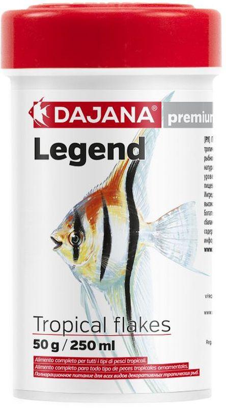 Корм для рыб Dajana Legend Tropical Flakes, 250 мл0120710Полнорационный хлопьеобразный корм для всех видов декоративных тропических рыб. Корм Legend изготавливается по новой премиум-формуле, имититующей корм рыб в дикой природе, улучшает пищеварение укрепляет иммунную систему, помогает здоровой окраске рыб, снижает биологическую нагрузку в аквариуме.