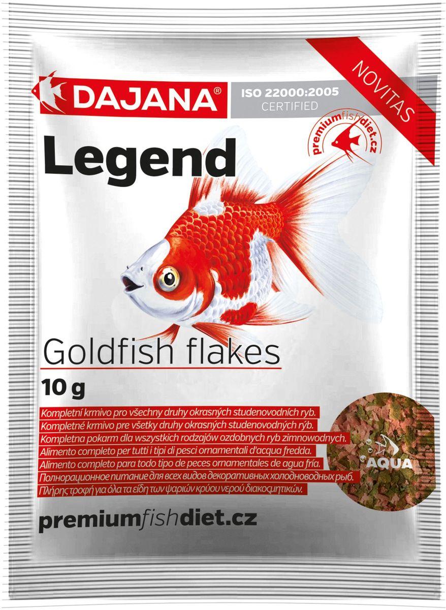 Корм для рыб Dajana Legend Goldfish Flakes, 80 мл2984Полнорационный хлопьеобразный корм для золотых рыбок. Корм Legend изготавливается по новой премиум-формуле, имитирующей корм рыб в дикой природе, улучшает пищеварение укрепляет иммунную систему, помогает здоровой окраске рыб, снижает биологическую нагрузку в аквариуме.