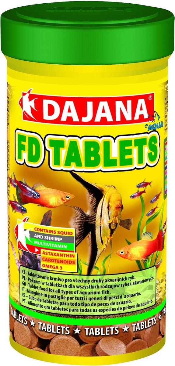 Корм для рыб Dajana Fd Tropical Tablets, 250 мл65194Специализированный корм в виде клеящихся таблеток, содержит несколько видов лиофизированного планктона для всех видов тропических рыбок. Корм очень питательный и богат витаминами, что способствует здоровью и правильному развитию рыбок. Корм не мутит воду в аквариуме.Состав: концентраты растительных белков, моллюски, морские водоросли, рыба и рыбные субпродукты, зерновые, сухие дрожжи, спирулина, жиры, лецитин, антиоксиданты.