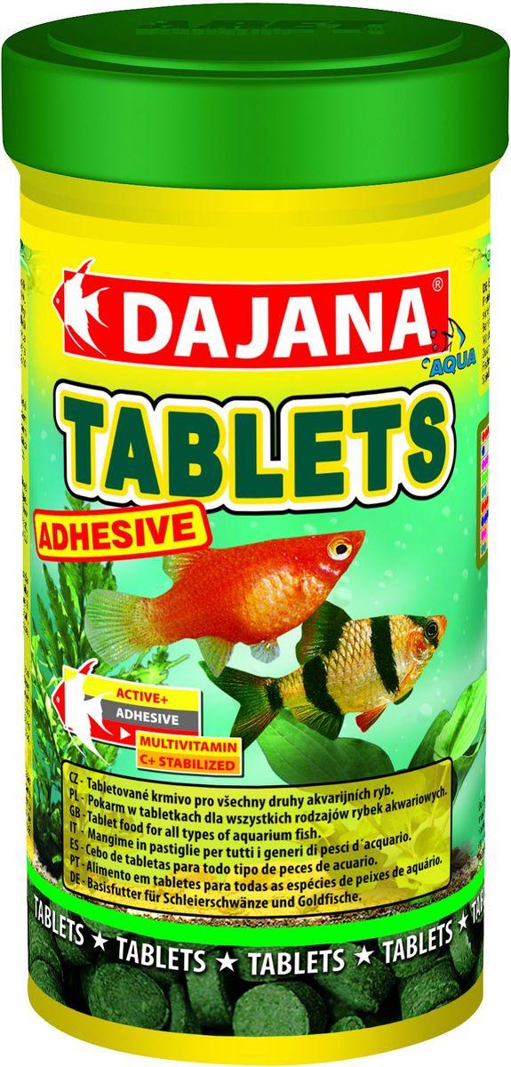 Корм для рыб Dajana Tablets Adhesive, 100 мл65194Специализированный корм в виде клеящихся таблеток, содержит несколько видов лиофизированного планктона и водоросли спирулины для всех видов тропических рыбок. Представляет собой сбалансированную пропорцию важнейших питательных веществ, витаминов, способствующую укреплению иммунной системы, здоровому росту и увеличению продолжительности жизни, благодаря достижению биологического баланса в организме рыбы.Благодаря специальной технологии изготовления, корм Dajana Tablets Adhesive не мутит воду в аквариуме.Состав: рыбная мука, зерновые, растительные протеиновые концентраты, сухие дрожжи, планктон, водоросли, растительные масла и жиры, лецитин, антиоксиданты.