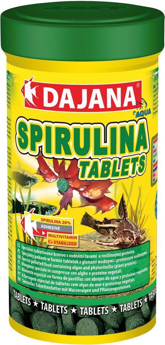 Корм для рыб Dajana Spirulina Tablets, 100 мл0120710Комплексный корм Dajana Spirulina Tablets с высоким содержанием спирулины, в виде таблеток для всех видов аквариумных рыбок. Содержит более 20% водорослей спирулина. Укрепляет иммунную систему ослабленных рыбок. Увеличивает сопротивляемость к болезням, способствует пищеварению, улучшает кровообращение. Обеспечивает быстрый рост молодых особей. Благодаря специальной технологии изготовления, корм Dajana Spirulina Tablets не мутит воду в аквариуме.Состав: Рыба и рыбные субпродукты, зерновые, растительные протеиновые концентраты, сухие дрожжи, моллюски, водоросли, масла и жиры, лецитин.