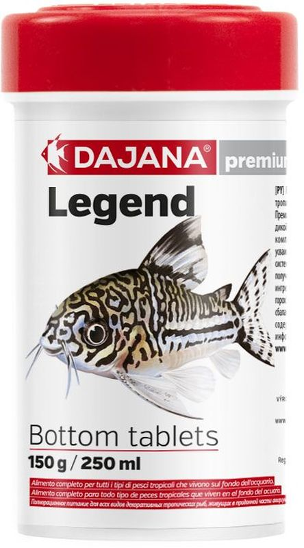 Корм для рыб Dajana Legend Bottom Tablets, 250 млMGSP13400Полнорационный корм в таблетках для донных рыб. Корм Legend изготавливается по новой премиум-формуле, имитирующей корм рыб в дикой природе, улучшает пищеварение укрепляет иммунную систему, помогает здоровой окраске рыб, снижает биологическую нагрузку в аквариуме.Состав: рыбная мука, зерновые, растительные протеиновые концентраты, сухие дрожжи, планктон, водоросли, растительные масла и жиры, лецитин, антиоксиданты.