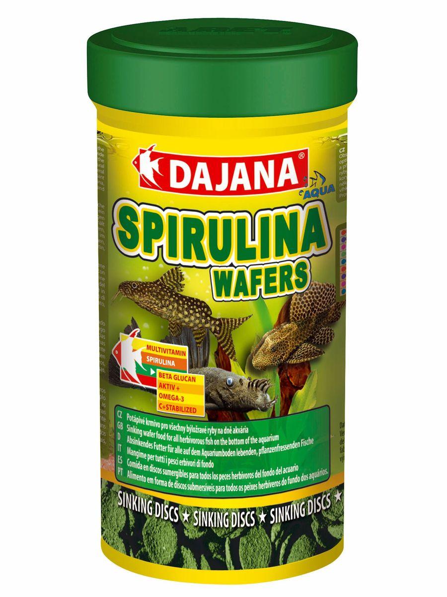 Корм для рыб Dajana Spirulina Wafers, 250 мл0120710Комплексный корм в виде тонущих пластинок для декоративных травоядных рыб, обитающих на дне аквариума. Идеален для всех видов сомиков. Содержит спирулину, шпинат, природный каротин и широкий диапазон высококачественных природных веществ в оптимальной сбалансированной формуле. Благодаря специальному рецепту приготовления, корм Dajana Spirulina Wafers не мутит воду аквариуме.Состав: Концентрат растительных протеинов, моллюски, водоросли, рыба и рыбные субпродукты, зерновые, сухие дрожжи, овощи, спирулина, жиры, лецитин.