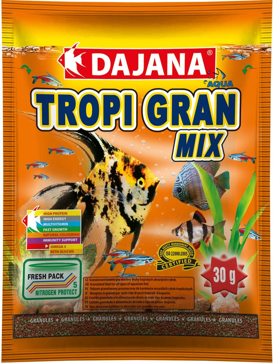 Корм для рыб Dajana Tropi Gran, 80 мл65209Высококачественный корм для рыбок в виде гранул для всех видов тропических аквариумных рыбок. Идеально подходит для кормления дискусов.Разнообразная смесь из отборных компонентов и витаминов поддерживает успешный рост и здоровье рыб. Содержит в составе витамины А, E, C, D3, а так же полезные микроэлементы. Комплекс витаминов, минералов и микроэлементов способствуют хорошему росту, здоровью, а так же яркой натуральной окраске и крепкомуиммунитету рыб в вашем аквариуме.Корм для рыбок Dajana Tropi Gran Mix отлично сбалансирован и содержит все необходимые питательные вещества, в которых так нуждаются декоративные рыбки каждый день. Корм имеет отличные вкусовые качества, охотно съедается рыбами, легко усваивается, остатки не загрязняют аквариумную воду. Состав: рыбная мука, пшеничная мука, концентрат растительного белка, сухие дрожжи, планктон, водоросли, масла и жиры, лецитин, антиоксиданты.