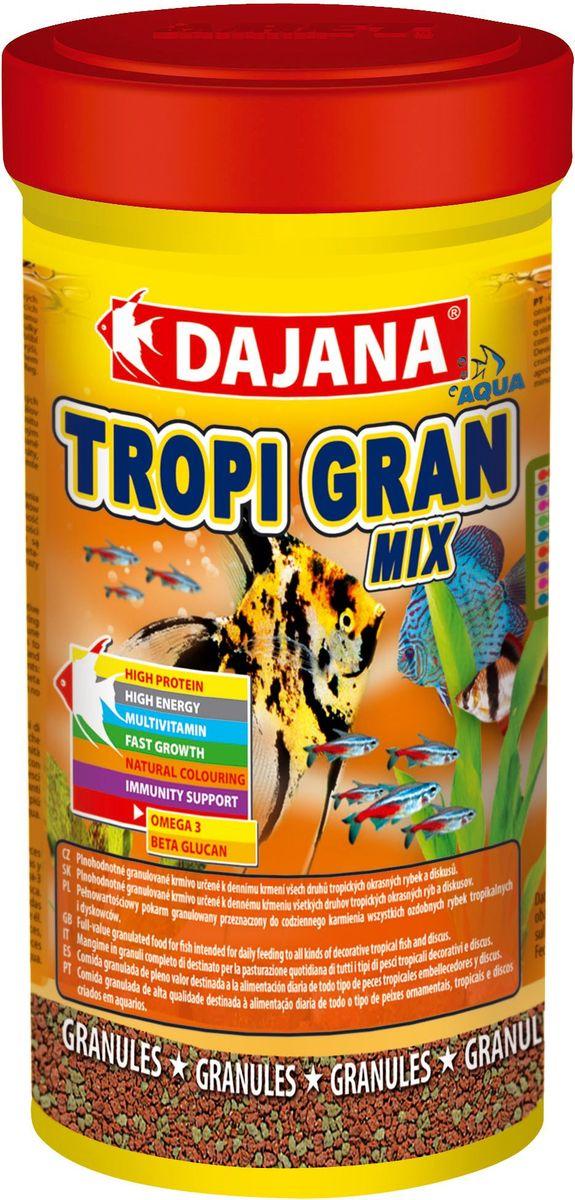 Корм для рыб Dajana Tropi Gran, 250 мл0120710Высококачественный корм для рыбок в виде гранул для всех видов тропических аквариумных рыбок. Идеально подходит для кормления дискусов.Разнообразная смесь из отборных компонентов и витаминов поддерживает успешный рост и здоровье рыб. Содержит в составе витамины А, E, C, D3, а так же полезные микроэлементы. Комплекс витаминов, минералов и микроэлементов способствуют хорошему росту, здоровью, а так же яркой натуральной окраске и крепкомуиммунитету рыб в вашем аквариуме.Корм для рыбок Dajana Tropi Gran Mix отлично сбалансирован и содержит все необходимые питательные вещества, в которых так нуждаются декоративные рыбки каждый день. Корм имеет отличные вкусовые качества, охотно съедается рыбами, легко усваивается, остатки не загрязняют аквариумную воду. Состав: рыбная мука, пшеничная мука, концентрат растительного белка, сухие дрожжи, планктон, водоросли, масла и жиры, лецитин, антиоксиданты.