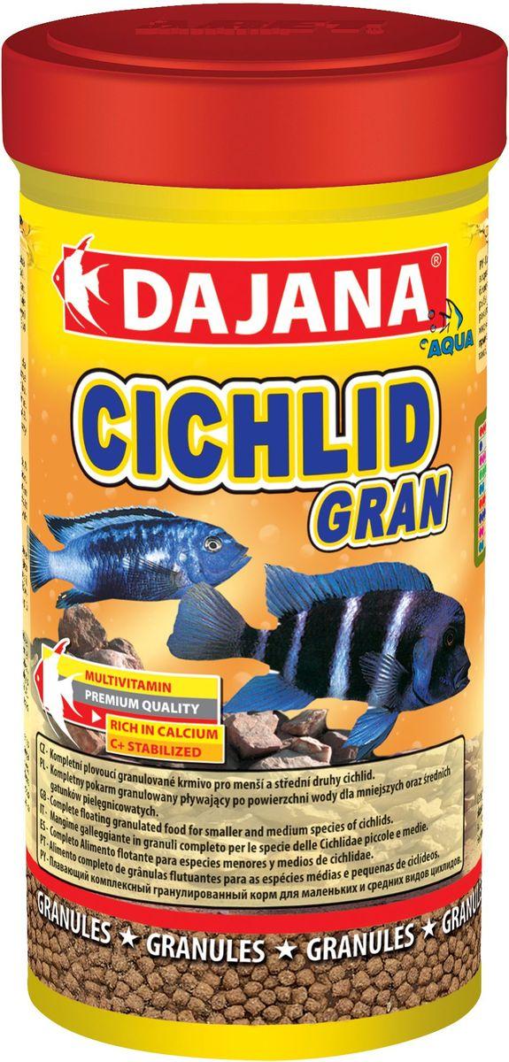 Корм для рыб Dajana Cichlid Gran, 100 мл0120710Комплексный гранулированный корм для маленьких и средних рыб семейства цихлид. Легкоусвояемые высококачественные протеины наряду с тщательно отобранными веществами и витаминами способствуют хорошему росту и сохранению здоровья рыбы.Состав: рыбная мука, зерновые, растительные протеиновые концентраты, сухие дрожжи, планктон, водоросли, масла и жиры, лецитин, антиоксиданты.