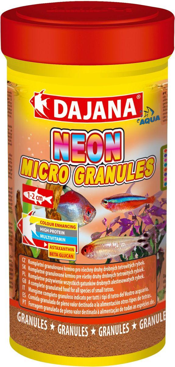 Корм для рыб Dajana Neon Micro Granules, 100 мл0120710Комплексный гранулированный корм премиум класса Dajana Neon Miсro Granules предназначен для ежедневного кормления неонов и другихрыб вида тетровых размером 1-2 см.Входящие в состав бета-глюкан и жирные кислоты омега-3 укрепляют иммунную систему ваших рыбок. Корм богат протеином, витаминами и минералами, способствует росту и здоровому развитию рыбок. Благодаря специальной рецептуре изготовления, корм для рыбок Dajana Neon Micro Gran не мутит воду в аквариуме после кормления.Состав: рыба и рыбные субпродукты, зерновые, растительный протеин, сухие дрожжи, морские водоросли, спирулина, жир, лецитин.