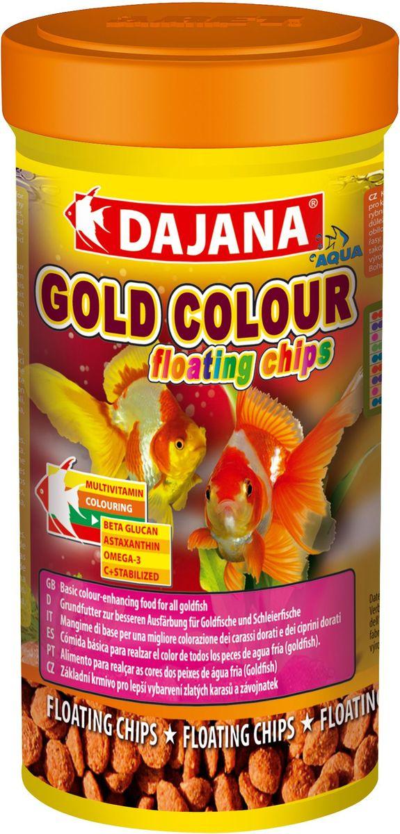 Корм для рыб Dajana Gold Colour Floating Chips, 100 мл101246Комплексный корм Dajana Gold Floating Chips в виде плавающих пластинок для золотых рыбок. Натуральные компоненты корма помогают усилить природный окрас рыбок. Предназначен для ежедневного кормления золотых рыбок.Содержит натуральные ингредиенты, витамины А, D3, Е и С, минералы в оптимальной сбалансированной формуле, гарантирует прекрасное здоровье и обилие жизненных сил ваших рыбок.Благодаря специальной рецептуре изготовления, корм Dajana Gold Floating Chips не мутит воду в аквариуме.Состав: растительные протеиновые концентраты, ракообразные, водоросли, рыба и рыбные субпродукты, зерновые, сухие дрожжи, чеснок, спирулина, жир, лецитин, антиоксиданты.