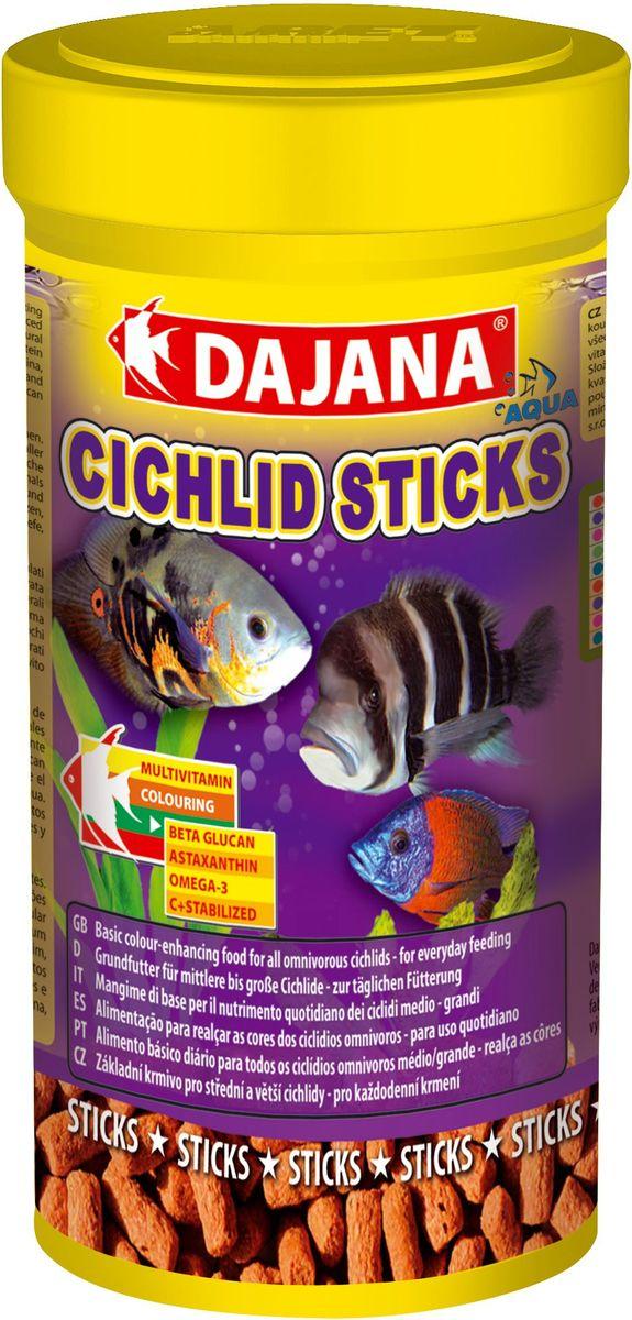 Корм для рыб Dajana Cichlid Sticks, 1 лDP111DОсновной комплексный корм в виде плавающих палочек - стиксов для ежедневного кормления крупных и средних рыб семейства цихлид содержит широкий спектр натуральных ингредиентов, особенно растительных и животных белков, минералов и натуральных витаминов, а также природный стимулятор иммунной системы бета-глюкан. Обеспечивает правильное развитие рыбы, яркий окрас и дополнительную защиту организма ваших рыбок. Производится только из натуральных ингредиентов высокого качества, хорошо усваивается и не мутит воду в аквариуме.Состав: Рыба и рыбные субпродукты, зерновые, концентрат растительного белка, сухие дрожжи, моллюски, овощи, спирулина, водоросли, жир, красители.