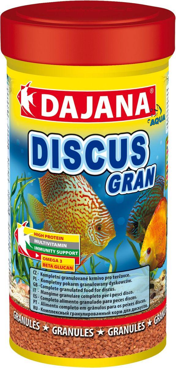 Корм для рыб Dajana Discus Gran, 250 млDP013AКомплексный гранулированный корм для дискусов. Гранулы корма состоят из отборных компонентов, содержащих множество витаминов аминокислот и минералов. Корм обогащен планктоном, прошедшим качественную обработку. Обеспечит великолепную окраску и здоровый рост рыбы. Содержит в составе витамины А, E, C, D3, а так же полезные микроэлементы, бета-глюкан и жирные кислоты Омега-3, способствующие укреплению иммунитета. Корм имеет отличные вкусовые качества, охотно съедается рыбами, легко усваивается, остатки не загрязняют аквариумную воду.Состав: рыба и рыбные субпродукты, зерновые, растительные протеиновые концентраты, сухие дрожжи, спирулина,моллюски, водоросли, масла и жиры, лецитин, антиоксиданты.