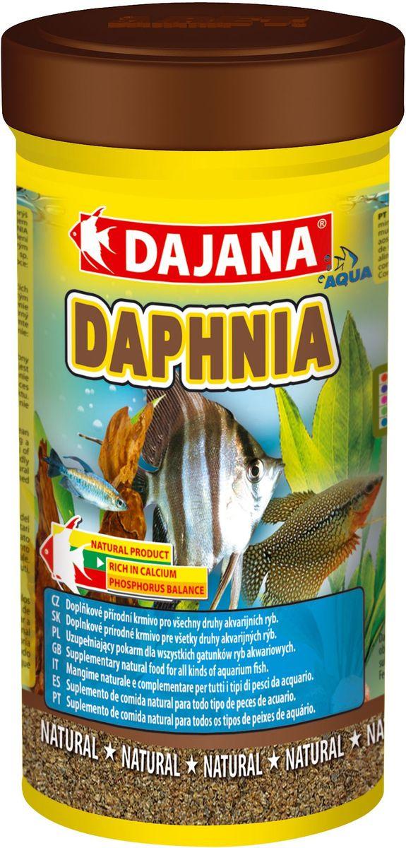 Корм для рыб Dajana Daphnia, 100 мл54799Природный натуральный корм из сушеного водяного планктона, для всех видов аквариумных рыб. Благотворно влияет на пищеварительную систему, обеспечивая долгую и здоровую жизнь рыб. Высококачественный, сублимированный корм Dajana Daphnia полностью сохраняет все питательные свойства живого корма. Состав корма полностью соответствует потребностям организма аквариумных рыб, стимулируя работу кишечника и улучшая пищеварение.Состав: планктон (дафния).