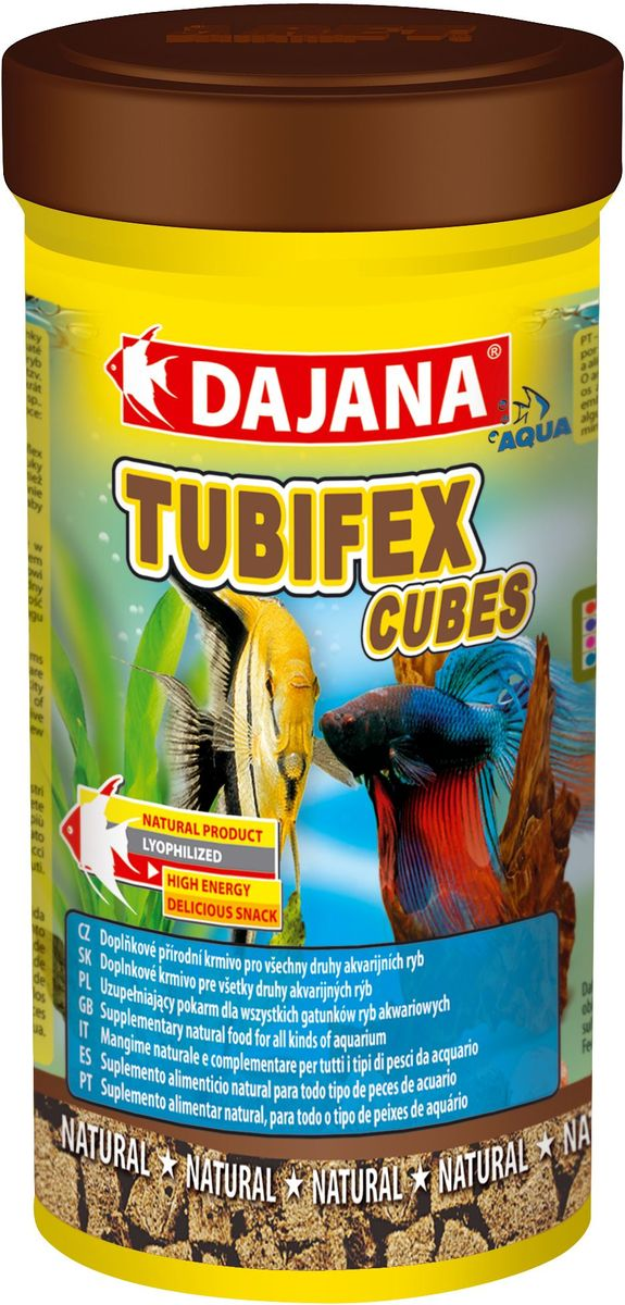 Корм для рыб Dajana Tubifex Cubes, 250 мл0120710Природный натуральный корм из чистого, лиофилизированного трубочника в кубиках. Для всех видов аквариумных рыб.