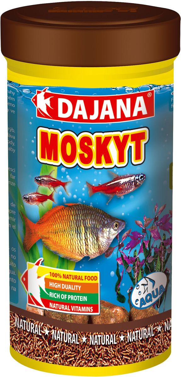 Корм для рыб Dajana Moskyt, 100 мл101246Природный натуральный корм из чистых лиофилизированных личинок комара-звонца chronomus. Для аквариумных рыб, водяных пресмыкающихся и террариумных животных. Натуральные протеины способствуют усилению мышечной ткани.Личинки комаров тщательно очищаются перед процессом сублимационной сушки с целью обеспечения лучшего результата для готового продукта. Изысканное лакомство с полным набором питательных элементов, витаминов и минералов.Состав: москит Moskyt Chironomus.