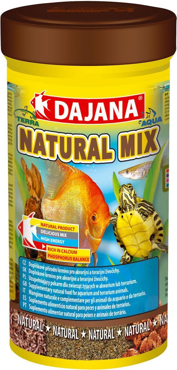 Корм для рыб и рептилий Dajana Natural Mix, 250 мл0120710Универсальный природный корм из смеси сушеных дафний, трубочника и мотыля для всех видов аквариумных рыб, водяных пресмыкающихся и террариумых животных.