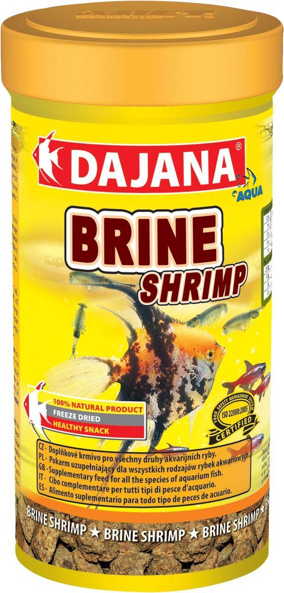 Корм для рыб Dajana Brine Srimp, 100 мл12171996Высушенные холодным методом взрослые ARTEMIE являются высококалорийным дополнительным кормом для всех видов аквариумных рыб в пресноводных и морских аквариумах. Изысканное лакомство с мощнейшим комплексом витаминов, минералов и питательных веществ. Оказывает уникальное восстановительное, лечебное и болеутоляющее действие.