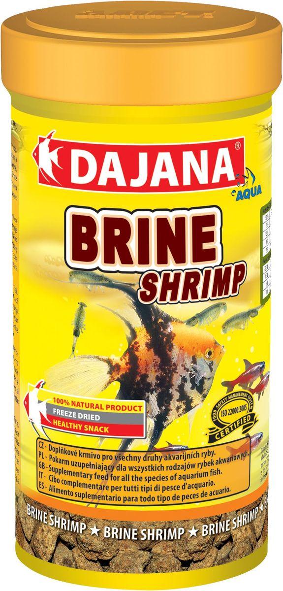 Корм для рыб Dajana Brine Srimp, 250 мл73049Высушенные холодным методом взрослые ARTEMIE являются высококалорийным дополнительным кормом для всех видов аквариумных рыб в пресноводных и морских аквариумах. Изысканное лакомство с мощнейшим комплексом витаминов, минералов и питательных веществ. Оказывает уникальное восстановительное, лечебное и болеутоляющее действие.