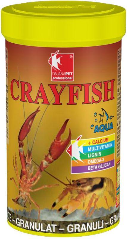 Корм для раков Dajana Crayfish, 100 мл0120710Комплексный гранулированный корм для аквариумных раков. Содержит оптимальное сбалансированное количество всех важных веществ, минералов и натуральных витаминов, специально подобранных для здорового роста и правильной замены жесткого панциря.