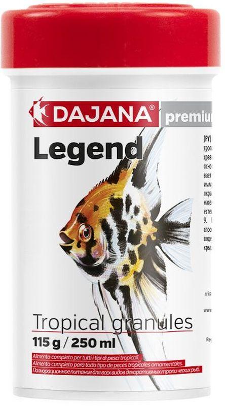 Корм для рыб Dajana Legend Tropical Granules, 250 мл0120710Полнорационный корм в гранулах для всех видов декоративных рыб. Корм Legend изготавливается по новой премиум-формуле, имитирующей корм рыб в дикой природе, улучшает пищеварение укрепляет иммунную систему, помогает здоровой окраске рыб, снижает биологическую нагрузку в аквариуме.Состав: рыба и рыбные продукты (сельдь, мука 5%), мука из личинок насекомых (13%), пивные дрожжи, зерновые, соевая мука, масло лосося, картофель, мука, креветочная мука, чеснок, паприка, мука люцерны, мука, спирулина, красители природного происхождения, крабов, икра.