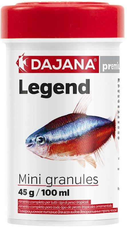 Корм для рыб Dajana Legend Mini Granules, 100 мл0120710Полнорационный корм в мини-гранулах для всех видов декоративных рыб. Корм Legend изготавливается по новой премиум-формуле, имитирующей корм рыб в дикой природе, улучшает пищеварение укрепляет иммунную систему, помогает здоровой окраске рыб, снижает биологическую нагрузку в аквариуме.Состав: рыба и рыбные продукты (сельдь, мука 5%), мука из личинок насекомых (13%), пивные дрожжи, зерновые, соевая мука, масло лосося, картофель, мука, креветочная мука, чеснок, паприка, мука люцерны, мука, спирулина, морковь красители природного происхождения, краба, икра.
