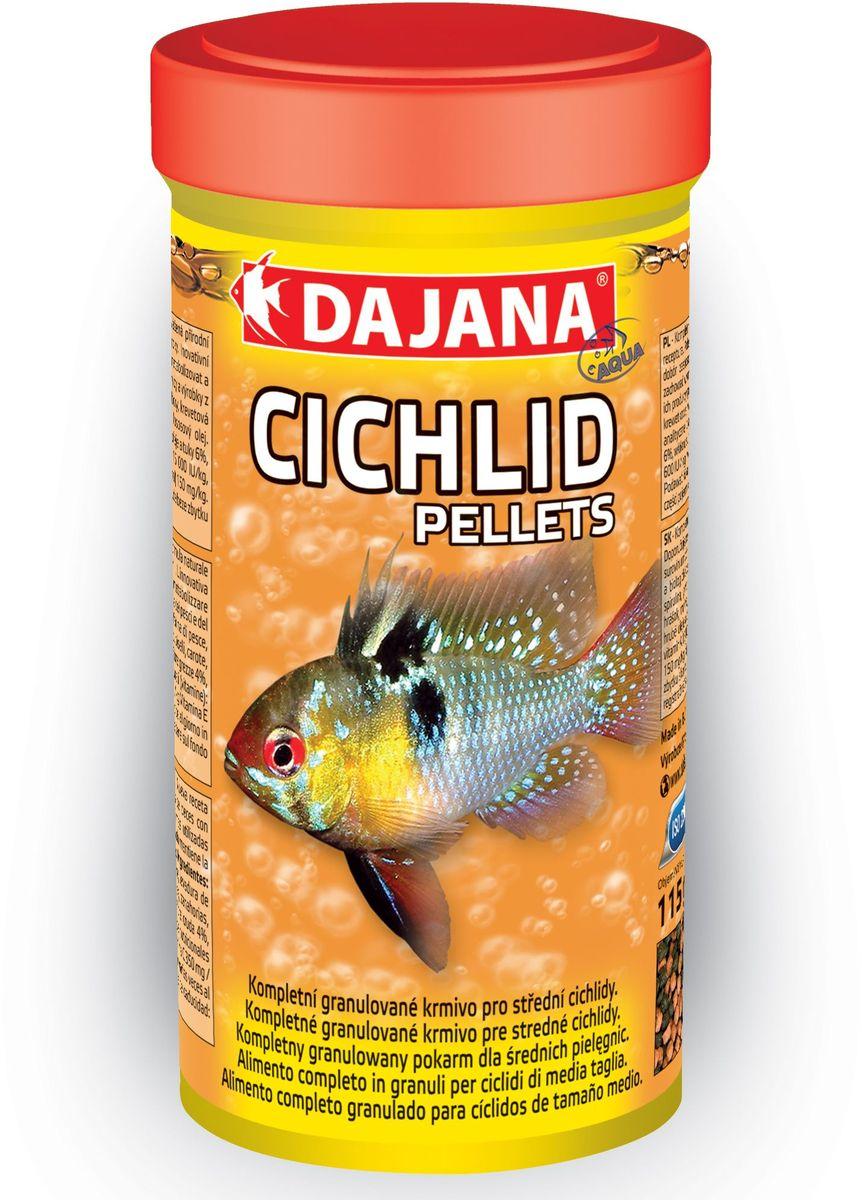 Корм для рыб Dajana Cichlid Pellets, 250 мл64784Комплексный гранулированный корм для маленьких и средних рыб семейства цихлид. Разнообразная смесь отборного сырья и витаминов способствует хорошему росту и здоровью рыб. Легкоусвояемые высококачественные протеины наряду с тщательно отобранными веществами и витаминами способствуют хорошему росту и сохранению здоровья рыбы.