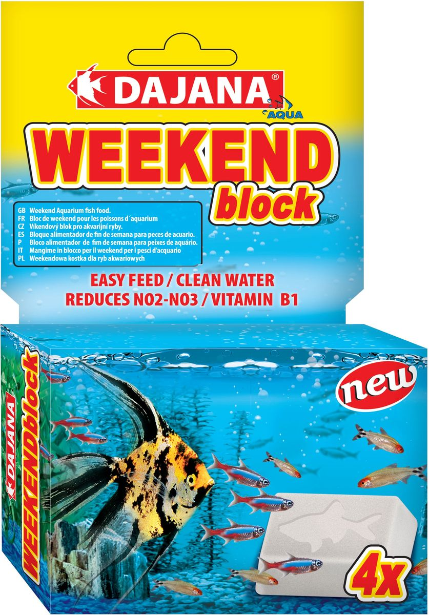 Корм для рыб Dajana Weekend Block, 25 г, 4 штDP130ADajana Weekend Block - специальный кормовой блок, который не распадается в воде 3-4 дней. Специально разработан для кормления рыб во время выходных дней. Крошечные пузырьки начнут высвобождаться из блока и их аромат привлечет рыбу к кормлению во время вашего отсутствия. Dajana Weekend Blockсодержит вещества, которые во время вашего отсутствия способствуют стабильному значению рН и уменьшению концентрации азота.Состав: рыба и рыбные субпродукты, пшеничная мука, овощной протеиновый концентрат, сухие дрожжи, планктон, морские водоросли (спирулина, хлорелла), овощи (шпинат, паприка, морковь), масла, лецитин, витаминно-минеральная добавка, ракообразные, чеснок, сульфат кальция.Дозировка и применение: один блок рассчитан на кормление 20-25 аквариумных рыб в течении 3-4 дней. Корм отделяется от основного блока постепенно, именно в тот момент, когда рыба его ест, не загрязняя, таким образом, воду. После возвращения домой удалите использованный блок.
