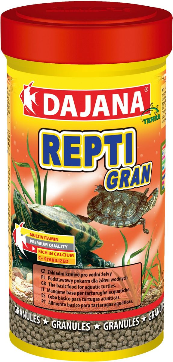 Корм для водных черепах Dajana Repti Gran, 100 млDP150AКомплексный корм Dajana Repti Gran в виде плавающих гранул для всех видов водных черепах. Dajana Repti Gran имеет отличные вкусовые качества и позволяет увеличить промежуток между подменой воды в террариуме, не загрязняя воду. Высококачественный и питательный корм разработан с учетом всех потребностей водных черепах, богат питательными веществами, в составе корма содержится лизин, необходимый для роста костной системы. Разнообразная смесь отборного сырья и витаминов способствует хорошему росту и здоровью черепах и пресмыкающихся. Состав: Рыбная мука, зерновые, растительные протеиновые концентраты, сухие дрожжи, моллюски, водоросли, растительные масла и жиры, лецитин, антиоксиданты.