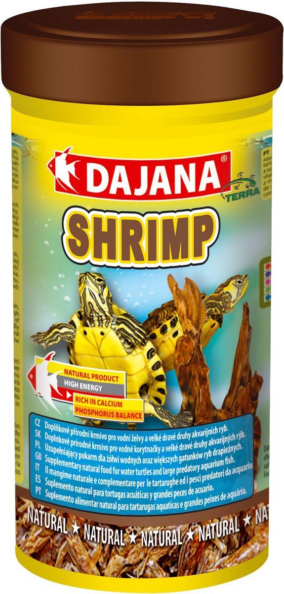 Корм для рептилий Dajana Shrimp, 250 мл422Натуральный высококачественный корм Dajana Shrimp (Даяна Шримп) в виде сушеных креветок палемонов для всех видов черепах, террариумных животных и пресноводных аквариумных рыбок.Компоненты корма собраны в экологически чистых районах, бережно приготовлены, и сохранили все свои питательные свойства.Этот корм является прекрасным полноценным рационом для водных черепах. Научно разработан с учетом диетических потребностей растущего организма черепах. С добавлением витаминов, минералов и аминокислот.Корм Dajana Shrimp способствует быстрому и здоровому росту черепах, содержит все необходимые питательные вещества для нормального развития рептилий. Прекрасно воспринимается и усваивается животными, способствует повышению природного иммунитета, а так же здоровому развитию водяных черепах. Не содержит искусственных консервантов, красителей или ароматизаторов.Состав: креветки палемоны.
