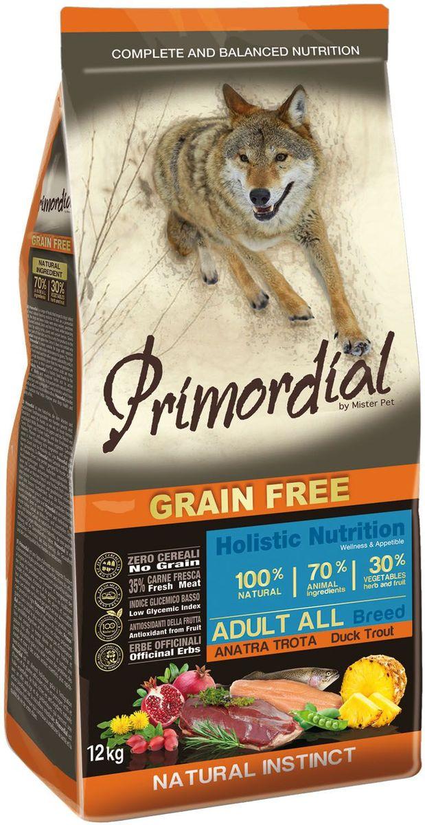 Корм сухой Primordial для собак, беззерновой, форель и утка, 12 кг60168Беззерновой корм класса холистик. Специально отобранные виды мяса и рыбы поддерживают низкий гликемический индекс,гарантируют высокую аппетитность и перевариемость корма.