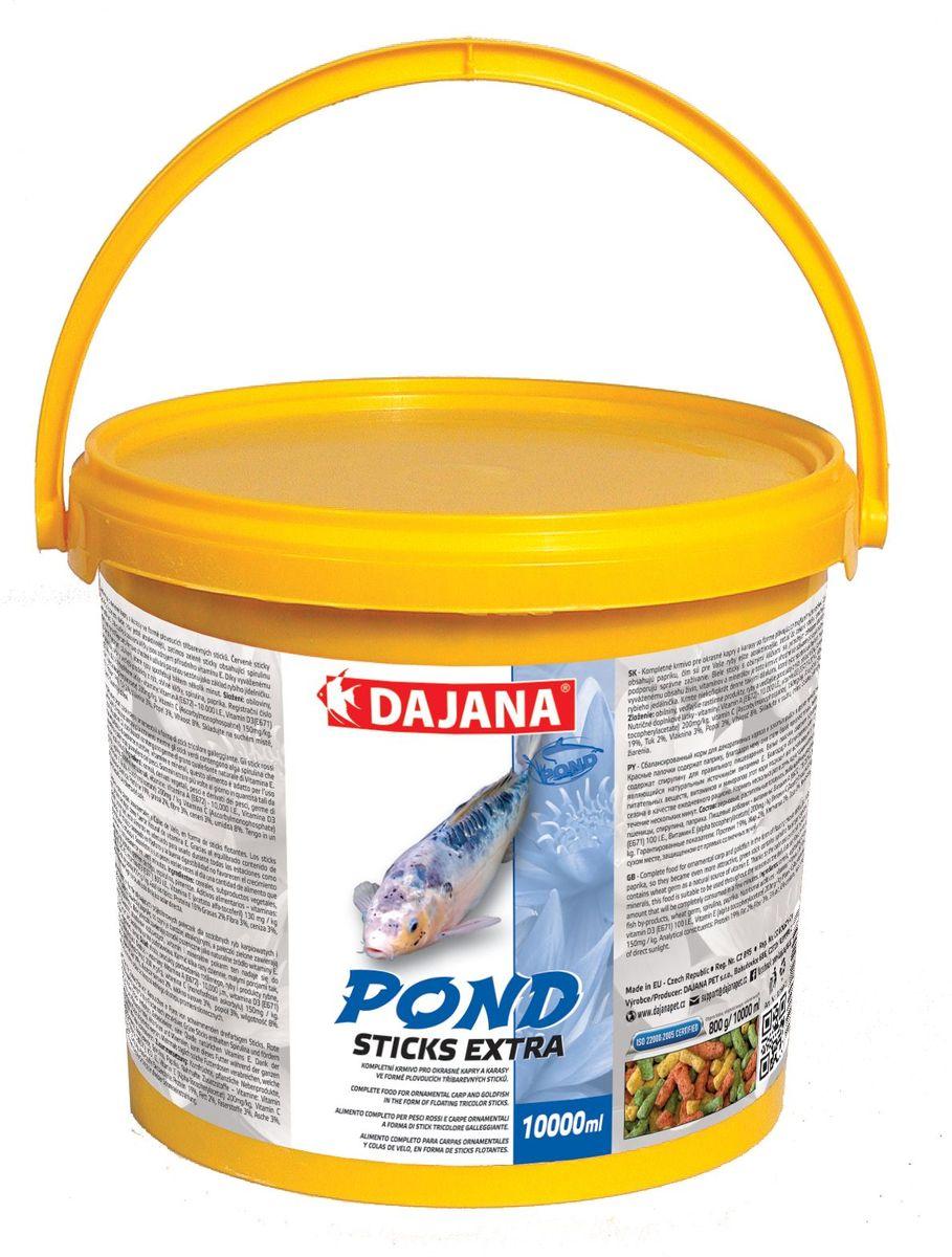 Корм для прудовых рыб Dajana Pond Sticks Extra, 10 л0120710Extra sticks - плавающий корм для рыбок в виде палочек. Идеален для всех видов прудовых рыб (декоративных карасей, золотых рыбок, карпов КОИ).Содержит легко усвояемые протеины, витамины и минералы, обеспечивает здоровое развитие ваших рыб.
