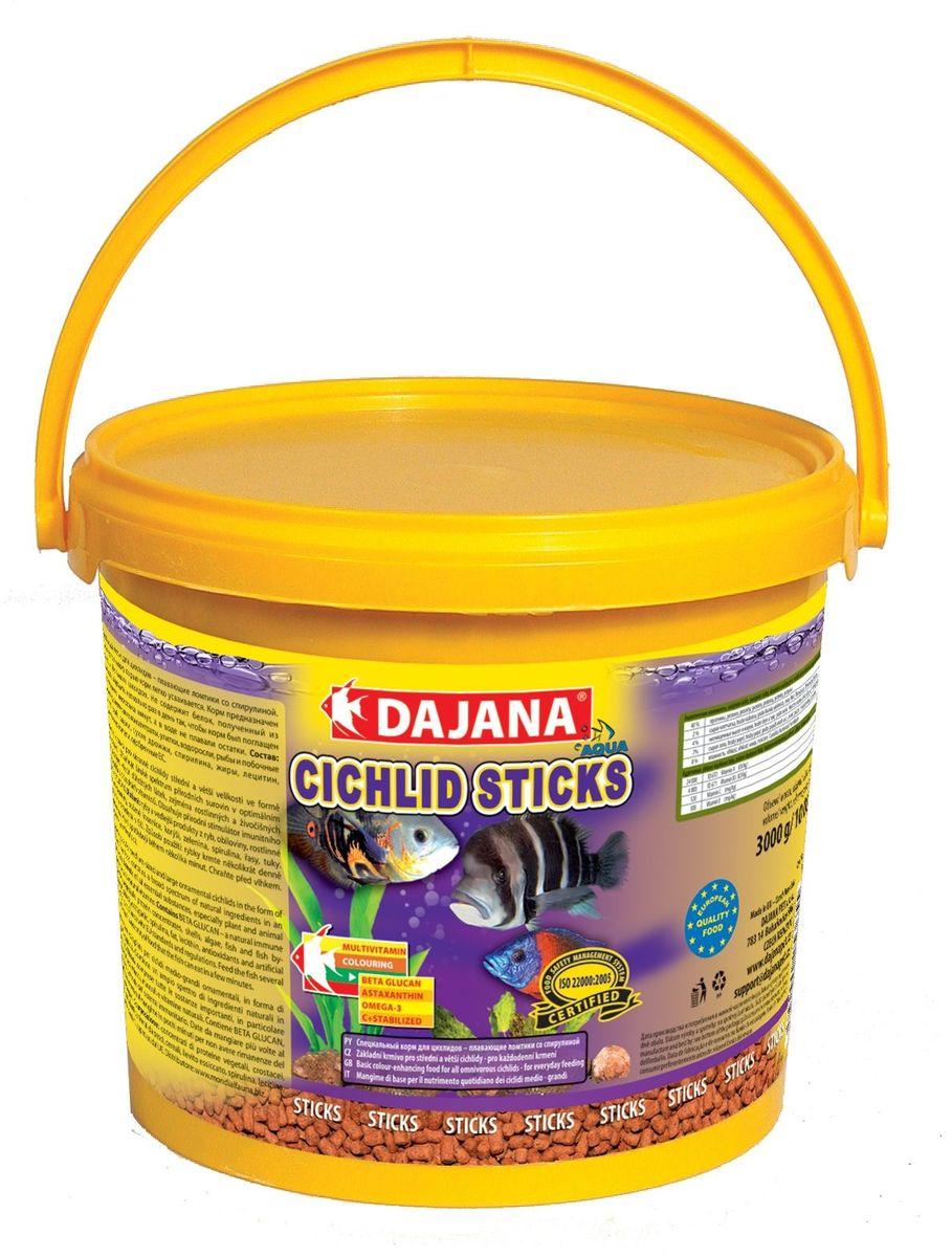 Корм для рыб Dajana Cichlid Sticks, 5 л0120710Основной комплексный корм в виде плавающих палочек – стиксов для ежедневного кормления крупных и средних рыб семейства цихлид содержит широкий спектр натуральных ингредиентов, особенно растительных и животных белков, минералов и натуральных витаминов, а также природный стимулятор иммунной системы бета-глюкан. Обеспечивает правильное развитие рыбы, яркий окрас и дополнительную защиту организма ваших рыбок. Производится только из натуральных ингредиентов высокого качества, хорошо усваивается и не мутит воду в аквариуме.Состав: Рыба и рыбные субпродукты, зерновые, концентрат растительного белка, сухие дрожжи, моллюски, овощи, спирулина, водоросли, жир, красители.