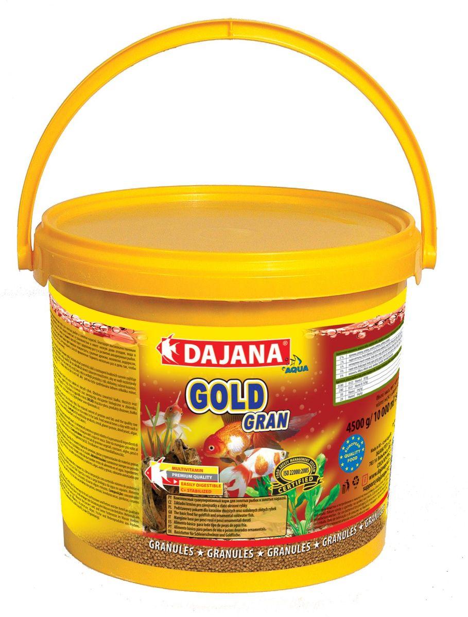 Корм для рыб Dajana Gold Gran, 10 л0120710Комплексный корм в виде гранул для всех видов золотых рыб, включая их различные селекционные формы. При ежедневном использовании корма, вы можете рассчитывать на здоровый рост и великолепную форму ваших золотых рыб.Гранулированный корм содержит все необходимые питательные вещества высокого качества, стабилизированный витамин С, который улучшает иммунитет к инфекционным заболеваниям и стрессоустойчивость. Корм состоит из высококачественных, натуральных ингредиентов, поэтому хорошо усваивается и имеет низкую долю отходов.Состав: рыбная мука, зерновые, растительные протеиновые концентраты, сушеные дрожжи, моллюски, водоросли, растительные масла и жиры, лецитин, антиоксиданты.
