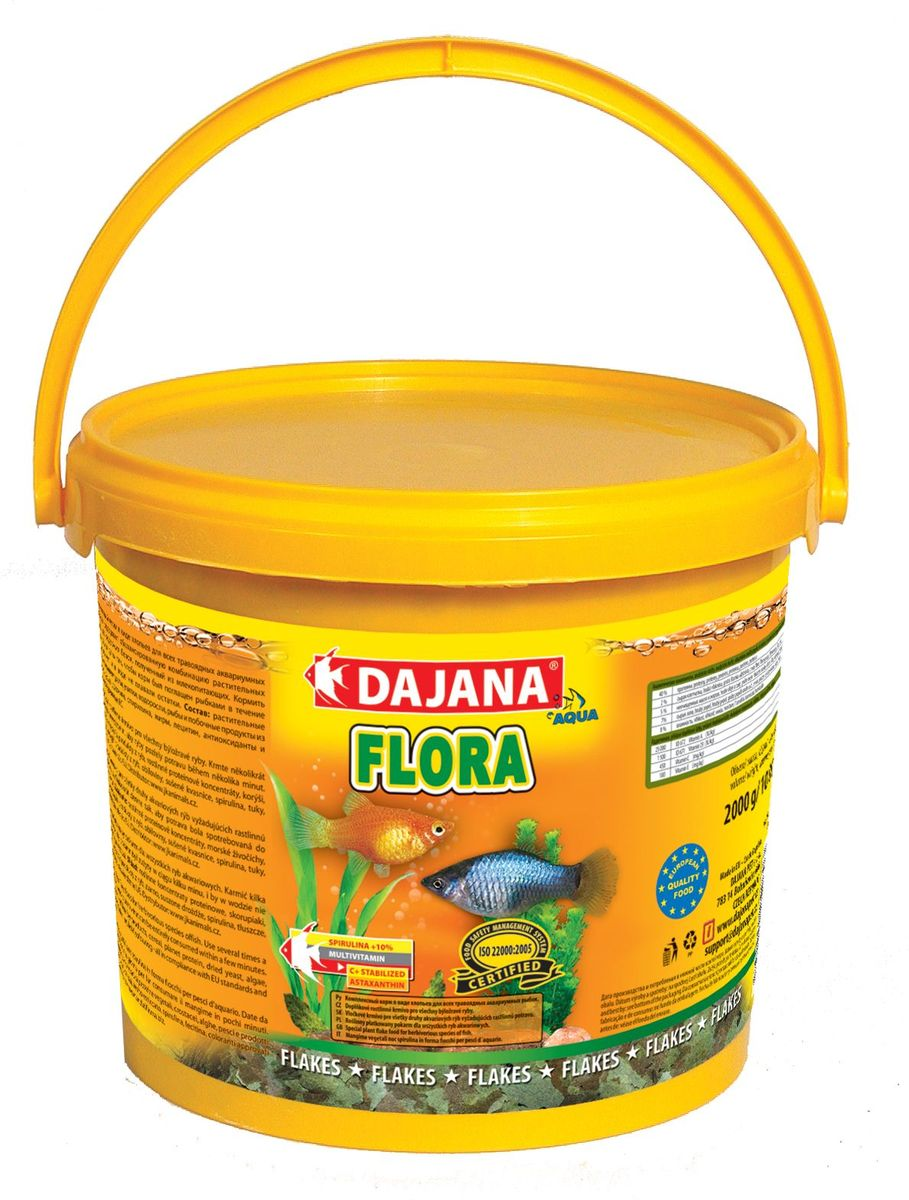 Корм для рыб Dajana Flora Flakes, 5 л12171996Высококачественный комплексный корм в виде хлопьев, предназначен прежде всего для кормления травоядных рыбок. Спирулина выращена лабораторно, в сочетании с витаминами, минералами, микроэлементами и аминокислотами дает очень быстрый и заметный эффект усиления цвета. Тщательно сбалансированные питательные вещества, а также стабилизированный витамин С позволят вашим рыбкам быть полными энергии и здоровья. При ежедневном использовании корма Dajana Flora вы можете рассчитывать на здоровый рост и великолепную форму ваших рыбок.Cостав: спирулина ,зерновые, растительные протеиновые концентраты, сушеные дрожжи, улитки, водоросли, растительные масла и жиры, лецитин, антиоксиданты.