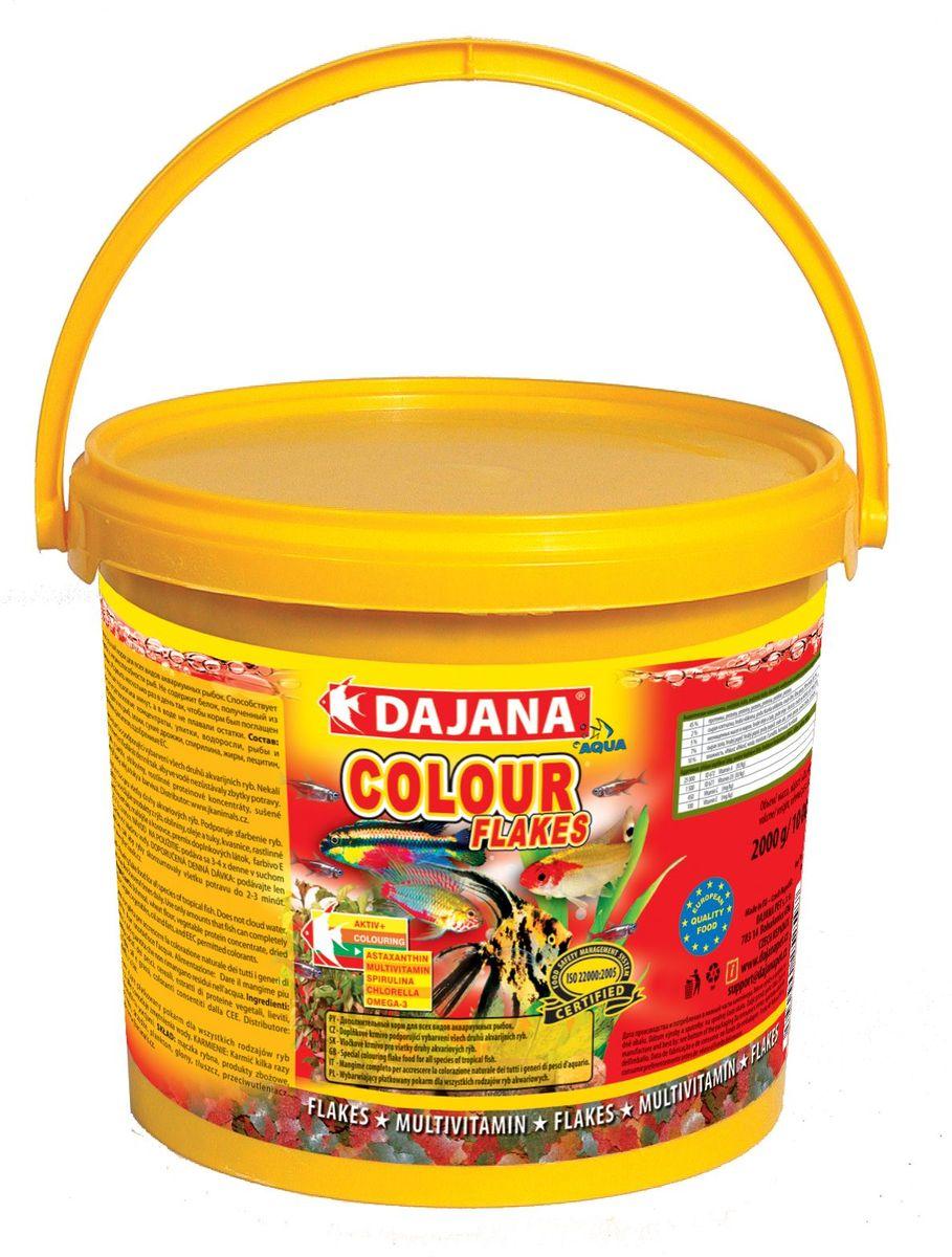 Корм для рыб Dajana Gold Flakes, 10 л0120710Комплексный корм Dajana Gold Flakes в виде хлопьев для всех видов золотых рыбок. Оригинальный рецепт Dajana Gold обеспечивает оптимальное соотношение питательных веществ, минералов и витаминов, L-карнитина и Алое вера. В своемсоставе содержит витамины А, Е, С, D3. Корм повышает метаболизм липидов, и являетсяотличным источником энергии. Положительно влияет на здоровый рост и развитие рыбок. Оказывает благоприятное воздействие на пищеварительную, иммунную и репродуктивную систему золотых рыбок.Благодаря специальной рецептуре изготовления, корм для рыбок Dajana Gold не мутит воду в аквариуме после кормления.Состав: растительные протеиновые концентраты, планктон, водоросли, рыба и рыбные субпродукты, зерновые, сухие дрожжи, спирулина, масла и жиры, лецитин, антиоксиданты.