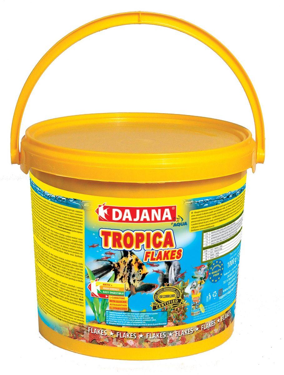 Корм для рыб Dajana Tropica Flakes, 5 л0120710Высококачественный корм, состоящий из хлопьев на каждый день, для всех видов декоративных аквариумных рыбок. Подходит для ежедневного кормления, состоит из более 50-ти видов тщательно отобранных, натуральных исходных продуктов.Хлопья содержат абсолютно все, в чем ежедневно нуждается рыбка в вашем аквариуме: мультивитаминный комплекс, стабилизированный витамин С, ценные минералы и микроэлементы. Питание этим кормом гарантирует здоровое развитие рыб, повышенную устойчивость к заболеваниям, активность, жизнерадостность и крепкий иммунитет.Благодаря натуральным продуктам, корм замечательно переваривается и усваивается в организме рыбок, не загрязняя воду в аквариуме.