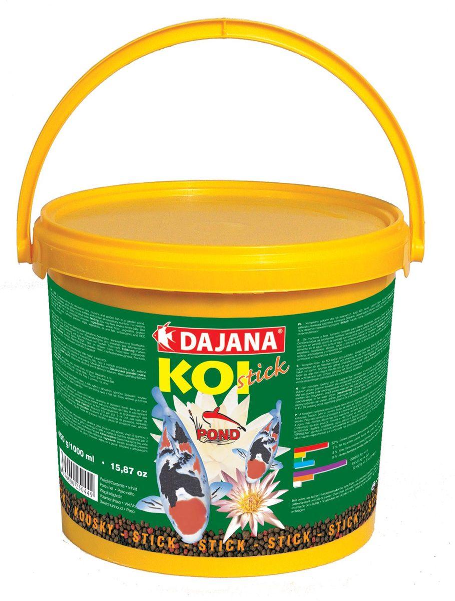 Корм для прудовых рыб Dajana Koi Stick, 5 л (2,25 кг)DP050BКомплексный гранулированный корм Dajana Koi Sticks для декоративных карасей, золотых рыбок и карпов КОИ.Специальные гранулы хорошо держаться на воде и содержат все необходимые питательные вещества для здоровья, правильного развития и роста рыб.Состав: овощной протеиновый концентрат, ракообразные, водоросли, рыба и рыбные субпродукты, зерновые, сухие дрожжи, улитки, масла и жиры, овощи, антиоксиданты.